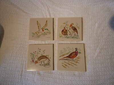 "4 x Vintage Hand Painted Bird 6"" Tiles – Packard & Ord"
