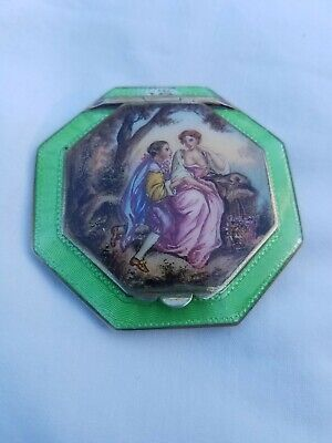Antique Green Guilloche Enamel Sterling Silver Octagon Compact-Austria-lady