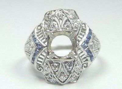 Antique Art Deco Setting Mounting Platinum Hold 6 MM-8 MM Ring Size 6.5 UK-M1/2