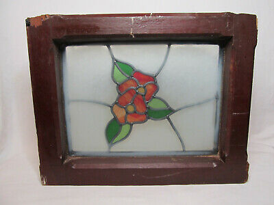 """Antique Victorian Era Arts & Crafts Stained Leaded Glass Window Floral 16 x 20"""""""