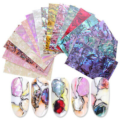 3D Holographic Gradient Marble Shell Nail Art Foil Transfer Decal Stickers DIY