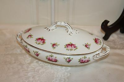 Antique Cauldon England Porcelain Covered Casserole Dish, floral