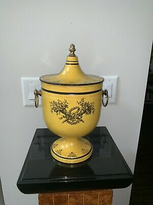Antique Vintage Yellow 1930s 1940s Italian Tole Toleware Chestnut Urn - Italy