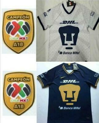 New 2019-2020 Pumas UNAM Home/Away Soccer Jersey And A18 LIGA MX CAMPEON Patch