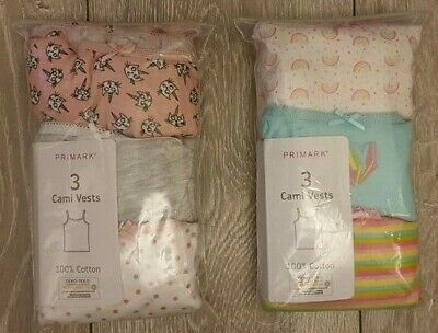 PRIMARK Girls Teenager 3 pack Cotton Cami Vests Summer Pyjama Tops 11-15 Yr 3pk