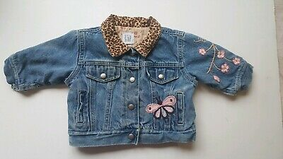 Baby Gap Girls jean jacket Jeans Embroidered Lined