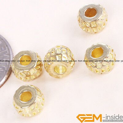 20 Pcs Tibetan Silver Rondelle Spacer Beads Gold Plated DIY Craft Findings 4x6mm
