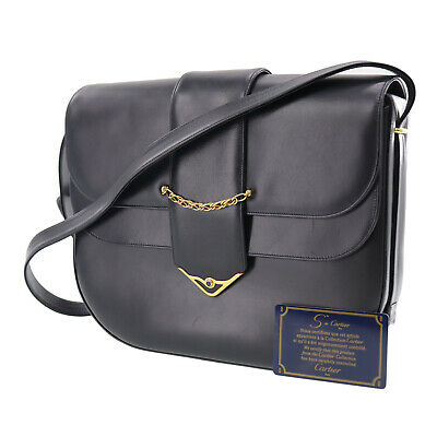 Cartier Logos Must Line Shoulder Bag Navy Leather Vintage Authentic #AA970 W
