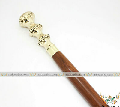 Vintage Nautical Wooden & Brass Round Shaped Head Handle Walking Stick Cane Gift