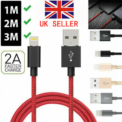 USB Charger Cable For i phone X 5 6 7 8 Heavy Duty Metal Braided Lightning 1-3M