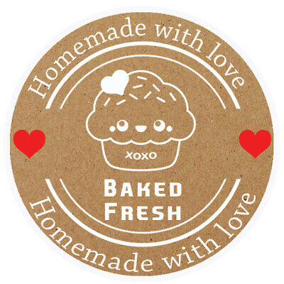 Baked Fresh Brown Round Sticker For Baking Cooking Food Packaging