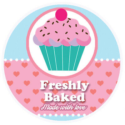 Freshly Baked Pink Round Sticker For Baking Cooking Food Packaging
