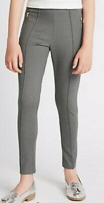 New Girls Age 8-9 Years Grey M&S Kids Trousers Treggings Leggings Stay New