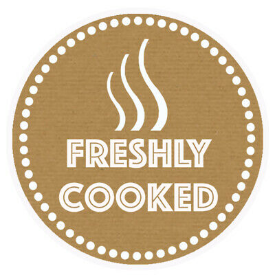 Freshly Cooked Brown Round Sticker For Baking Cooking Food Packaging