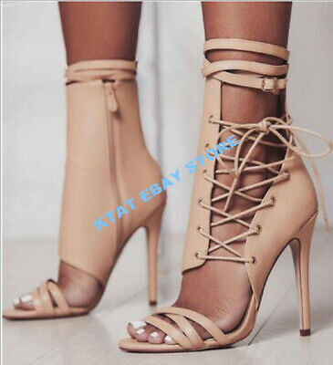 Womens Bandage Patent Leather Pointed Toe High Heels Stilettos Lace Up Shoe E466