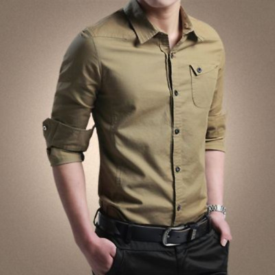 Men Slim Dress Formal Solid Buttons Stand Collar Long Sleeves Shirt Tops Bty15