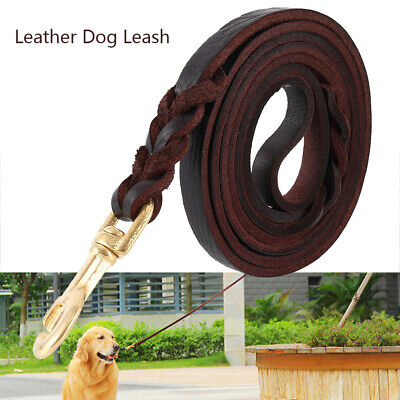 Leather Dog Leash Large Medium Dogs Heavy Duty Braided For Training and Walking