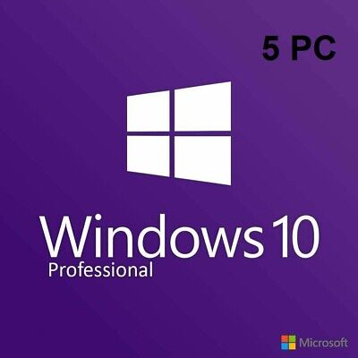 Microsoft Windows 10 Pro Professional 32/ 64bit Genuine License Keys [5 PC]