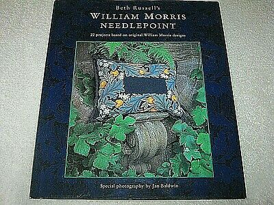 SIGNED BETH RUSSELL - BETH RUSSELL'S WILLIAM MORRIS NEEDLEPOINT - Hb Dj RARE 1ST