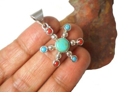 Tibetan TURQUOISE and Coral  Sterling  Silver  925 Gemstone  Pendant