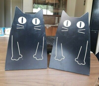 """VINTAGE Pair 8"""" x 15"""" Black Metal Shaped Cut Out CAT BOOKENDS Mid Century ART"""