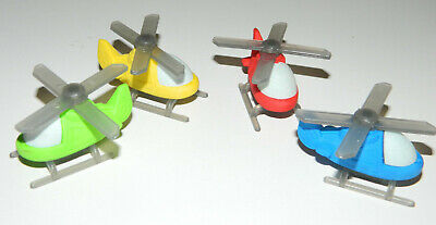 "Lot 4 Gommes Fantaisie "" Helicoptere"" Materiel Scolaire Papeterie Ecole Neuf"