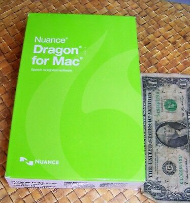 NUANCE Dragon Mac 5.0 Version 5 Speech Recognition Software NEW Full Retail USA