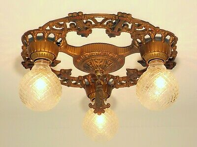 Vintage Antique Art Deco Victorian 3 Light Chandelier Flush Ceiling Fixture ORIG