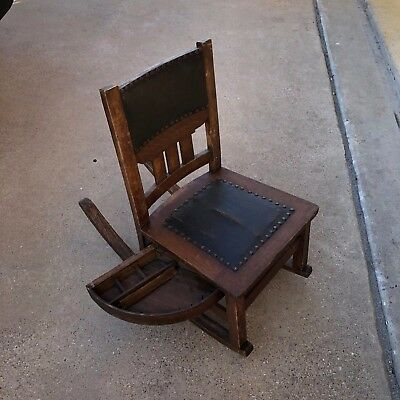Antique Mission Oak Sewing Rocking Chair w storage drawer Circa 1900 Stickley ?