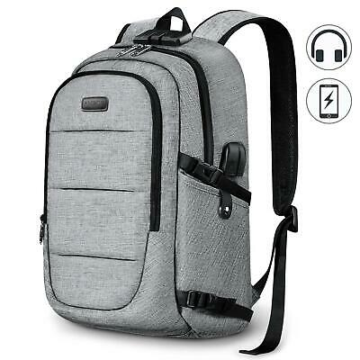 Anti-Theft Backpack Business Travel Laptop Bag With Lock & USB Port Rucksack NEW