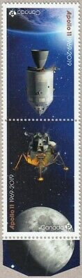 APOLLO 11 = 50th = Tête-Bêche Pair fr Minisheet with MOON image Canada 2019 MNH