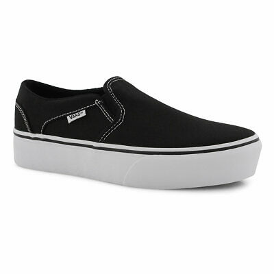 Details zu VANS ASHER PATENT LEATHER BLACKWHITE WOMENS SHOES NWB SZ; 6 8 SLIP ON