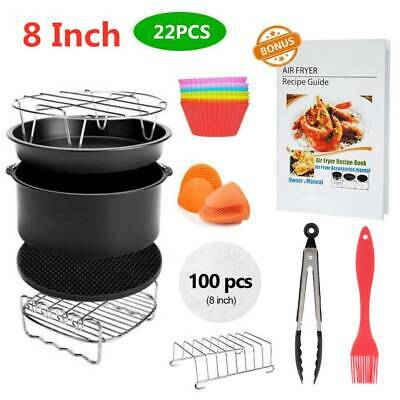 """12PCS 8"""" Air Fryer Frying Cage Dish Baking Pan Rack Pizza Tray Pot Accessories"""