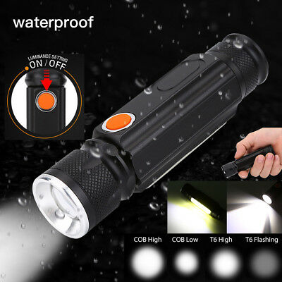 COB LED Inspection Lamp USB Rechargeable Work Light Hand Torch Flexible Magnetic