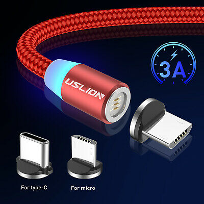 3A 360° Fast Charging Magnetic USB Micro Type C Data Sync Charger Braided Cable