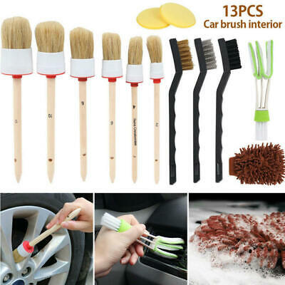 13pc Car Detailing Brush Kit Boar Hair Vehicle Auto Interior For Wheel Cle FCL