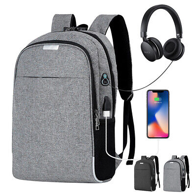 Unisex Anti-Theft Laptop Backpack Business Travel School Bag USB Charging Port