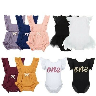 Newborn Baby Girls Ruffle One-Pieces Romper Dress Bodysuit Jumpsuit Outfits