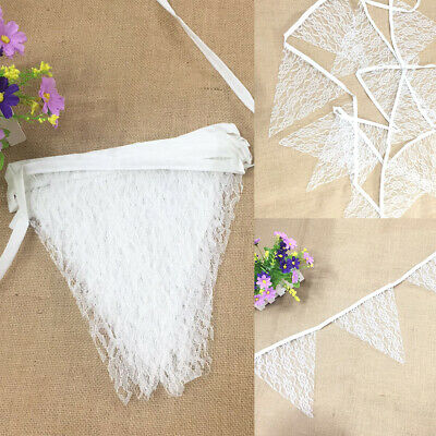 3.2M Vintage White Lace Banner Bunting 11 Flags Party Birthday Wedding Decor