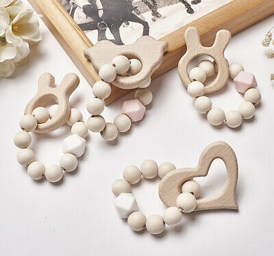 Baby Rabbit Teether Silicone Bracelets Round Wooden Beads Teething Rattles Toys