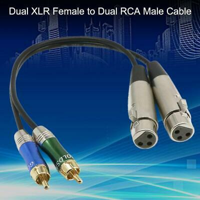 3FT Dual XLR Female to Dual 2 RCA Male Patch Cable Microphone Audio Cord