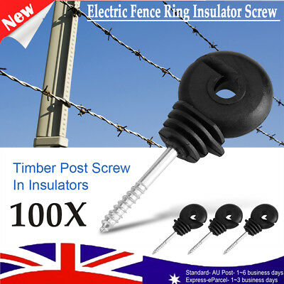 100x Screw in Ring Electric Fence Wood Timber Post Insulators Tape Cord Wire NEW