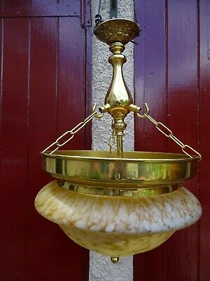 B #  Large Art Deco Styled Brass & Glass Shade Hanging Ceiling Light
