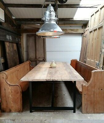 A RUSTIC TABLE MADE USING SCAFFOLD BOARD ON AN INDUSTRIAL METAL BASE Ref M1290