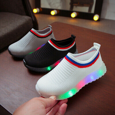 Kids Toddler Trainers Shoes Baby Boys Girls LED LIGHT UP Casual Sneaker AU