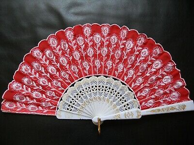 Wholesale Lot of 30 Spanish Embroidered Silk Cloth Folding Hand Fan Dance Bridal