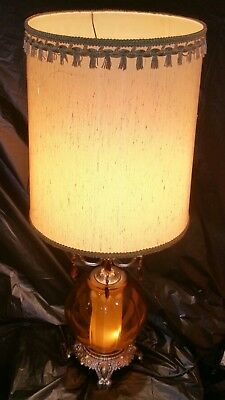 Vintage Amber Glass Globe Gold Colored Table Lamp Bottom Night Light Works 100%