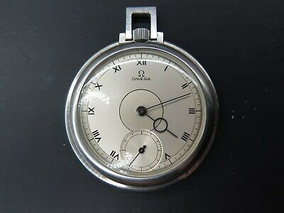 Omega 1930s open faced Art Deco pocket watch stainless steel working