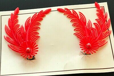 """Vintage Earrings - Red """"Feather"""" Clip on Earrings with Red Glass Stone"""