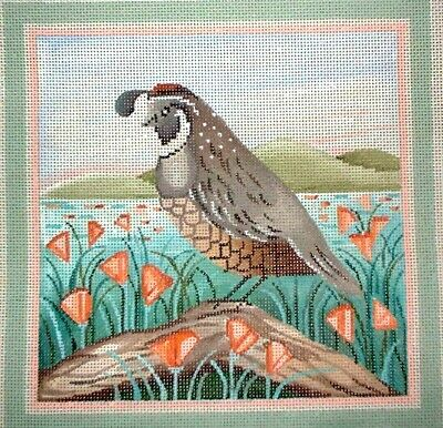 MZC Quail Birds Nature by Napier HP Hand Painted Needlepoint Canvas